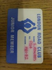 1981/1982 Oxford United: London Road Club Junior Member, Credit Card Style Pass.