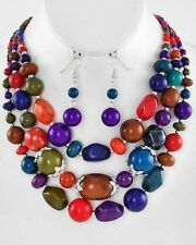Bead Gradual Necklace Earring Set Three Layers Multi Color Lucite