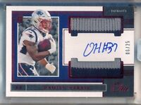 DAMIEN HARRIS > 2019 Panini One RED Sealed Rookie DUAL Patch AUTO /25 - Patriots