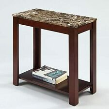 Devon Chairside End Table with Marble Style Top by Crown Mark