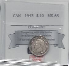 **1943**Coin Mart Graded Canadian, 10 Cent, **MS-63**