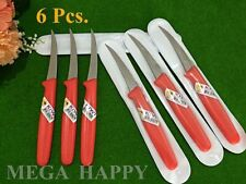 NEW 6pcs. KIWI STAINLESS RED CARVING KNIFE FRUIT VEGETABLE KITCHEN TOOL THAILAND