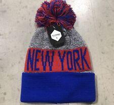 NWT - New York Giants Team Color Pom pompom Beanie hat cap FREE S/H !!