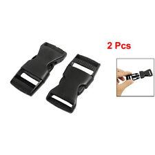 """1"""" Spare Parts Belt Connecting Black Plastic Quick Release Buckle 2 Pcs"""