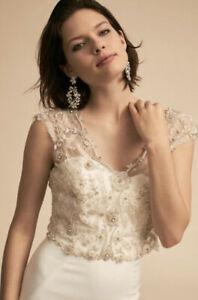 NEW BHLDN Zakaa Sheffield Wedding Dress Topper Size 10 Swarovski Crystals