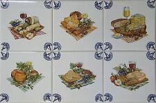 Fliesen Delfer Art, blau/weiß 15x15 Fliesen, Käse u. Wein, Küchenfliesen
