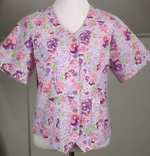 Crest Size S Pink & Purple Pansies SS Scrub Jacket Top Womens Small
