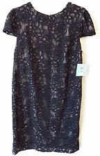 Suzi Chin for Maggy Boutique Lace Shift Dress Short Sleeve Black Size 8 #4929