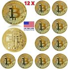 12 Pcs Gold Bitcoin Coins Commemorative 2021 New Collectors Gold Plated Bit Coin