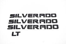 4 x Matte Black SILVERADO Nameplate Emblem Badges 3D Letter GM Chevrolet LT