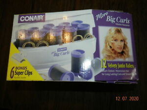 CONAIR More Big Curls for Big and Smooth Volume Jumbo Rollers- Bonus Super Clips