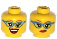 LEGO - Minifig, Head Female Glasses w/ Blue Frames, Red Lipstick, Smirk / Smile