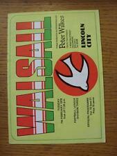 07/02/1978 Walsall v Lincoln City  (Folded)