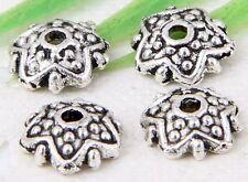 200Pcs  Tibetan Silver (Lead-Free)Pretty Flower Beads Caps 8x2mm