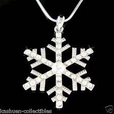 Big w Swarovski Crystal SNOWFLAKE Snow bridal Jewelry Pendant Necklace Xmas Gift
