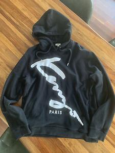 "Kenzo Designer Hoodie XL Black ""Signature"" Logo"