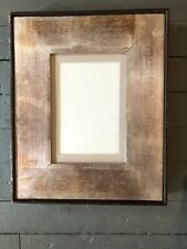 Antique Modernist Distressed Silver Leaf Wood Picture Frame Beautiful 6 X 9
