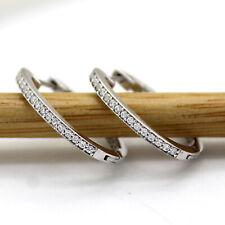 Milgrain Inside Out Diamond Hoop Earrings 9kt White Gold 20 MM Length For Women