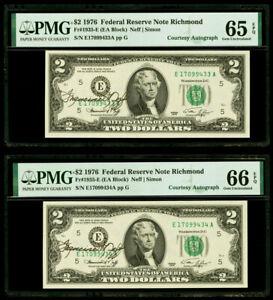 "$2 1976 Federal Reserve Note Richmond  ""Courtesy Autograph"" PMG 65&66 EPQ Gem"