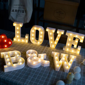 Led Letter Marquee Lights 26 Alphabet Light Up Lamp Home Bar Party Decor Numbers