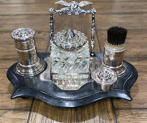 Vintage Virginia Metalcrafters Silver Plated Desk Set Glass Inkwell Art Nouveau