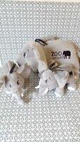 3 peluches doudou éléphant gris noir Zoo de Pont Scorff 38 cm deux 25 cm Sandy
