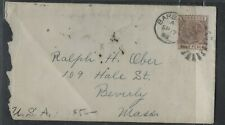 BARBADOS COVER (P1803B) 1889 QV 4D CORK CANCEL COVER TO USA