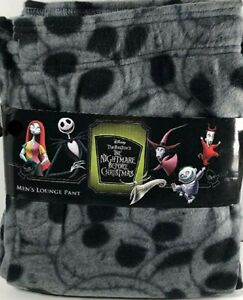 Nightmare Before Christmas Jack Skellington Men Fleece Lounge Pant Gray Black
