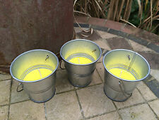 Set of 3 Citronella Candles in Small Tin Metal Bucket Garden Outdoor Dining Use