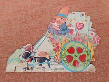 Vtg Gnome Dwarf Valentine Flower Cart Puppies Stand Up Honeycomb Greeting Card