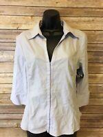 H & M Button Down shirt size 16 Womens light purple 3/4 Sleeve Top Blouse career