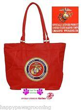 Ricamato Usmc Marines Corpo Sigillo USA Resistente Borsa Bag-Beach Spesa Rosso