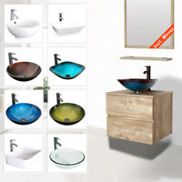 "24"" Bathroom Vanity Sink Combo Wall Mounted Natural Cabinet Two Drawers & Mirror"