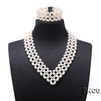 "JYX Triple Strand Handmade Oval White Freshwater Pearl Necklace Bracelet Set 17"""