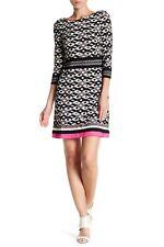 NWT Eliza J Women's 3/4 Sleeve Geo Print Stretch Knit Dress Black Pink Size 6