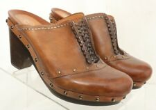Earthies Freiburg Brown Woven Studded Western Clogs Mules Heels Women's US 6.5B