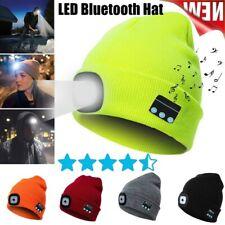 Унисекс Bluetooth 5.0 музыкальный вязаная шапочка громкоговоритель светодиодный голова лампа свет шапка