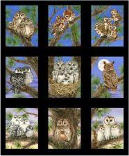 Con Dibujo De Búho familias Paneles Algodón Colchas de retazos de tela Elizabeth's Studio Borde Negro