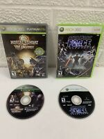 Star Wars The Force Unleashed + Mortal Kombat Vs DC Universe Xbox 360 Game Lot!