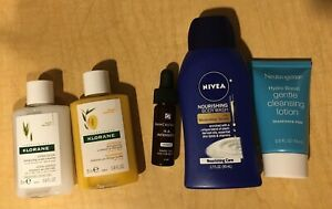 Lot of 5 Travel Nivea Body Wash, Neutrogena Cleansing Lotion, Klorane... New