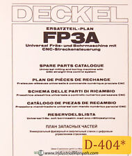 Deckel FP3A, Universal Tool Milling Boring, Spare Parts Manual Year (1981)