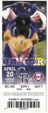 2014 COLORADO ROCKIES VS PHILADELPHIA PHILLIES TICKET STUB 4/20 DINGER