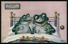 art Ellam Frog breakfast in bed charged extra old 1910s postcard Raphael Tuck