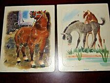 Playskool cardboard frame tray puzzles horses 80-3c golden press nice!!