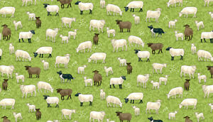 Makower Fabric village life Sheep and Border Collie - half metre