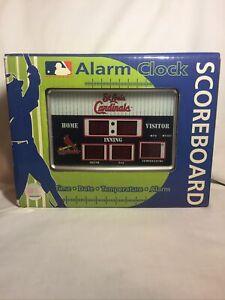MLB St. Louis Cardinals Baseball LED Scoreboard Alarm Clock Time Date Temp NEW