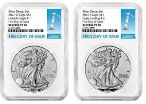 NGC PF70 FDI 2pc American Eagle 2021 Silver Reverse Proof Two Coin Set Designer