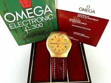 OMEGA ANTIQUE WATCH CHRONO GOLD PLATE F300 TUNING FORK NEWO LEATHER BAND,GIVALDI