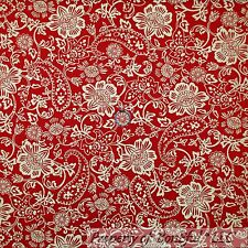 BonEful Fabric FQ Cotton Quilt Red Gold VTG Paisley Flower Calico Metallic Small
