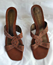 ANTONIO MELANI Brown Leather Sandals Slides Shoes 10